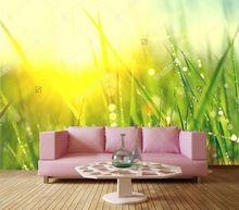 Custom foto muurschilderingen, Lente dauw verse groene gras Closeup behang, woonkamer tv sofa muur slaapkamer 3d behang achtergrond(China)