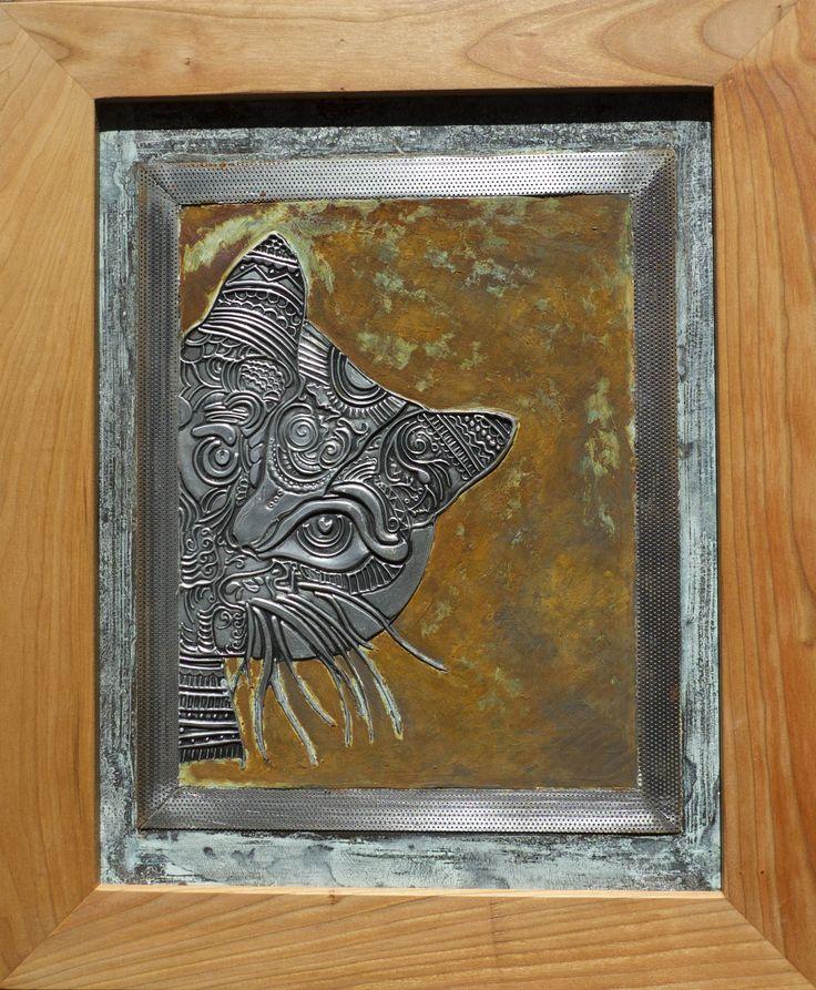miau, miau donde esta Ralf el raton repujado en aluminio, pintado con patinas
