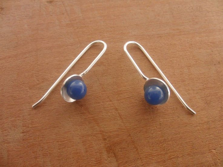 Blue Agate Earrings, Stone jewelry, Silver Earrings, Simple Silver Earrings, Minimalist Jewelry,Gift for Girlfriend,dainty,gift for her http://etsy.me/2nUlBfl #jewelry #earrings #blue #minimalist #earwire #silver #girls #floral #circle #etsy