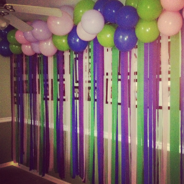 Except with gold and white balloons and red streamers add for Balloon decoration on wall for birthday