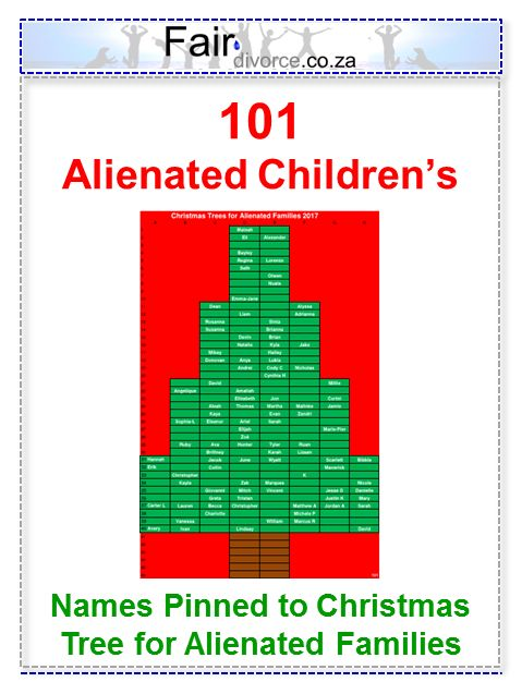 101 Alienated Children's Names have been pinned to our Christmas Tree for Alienated Families, Parental Alienation, Shared Parenting, Co-Parenting, Children of Divorce, Children's Rights, Alienated Children, Alienated Parents, Alienated Grandparents, Alienated Siblings, Alienated Step-Parents, Fair Divorce