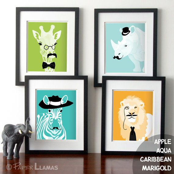 Fun Nursery art  crazy childrens art Jungle animals by PaperLlamas, $45.00