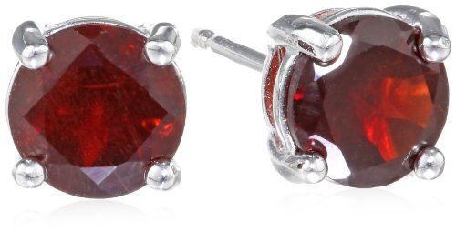 Sterling Silver 6mm Garnet Stud Earrings Simple yet stunning, these earrings feature round-cut garnet gemstones nested in four-prong settings and affixed to a sterling silver backing.. .925 sterling silver friction-back posts. The natural properties and composition of mined gemstones define the unique beauty of each piece. The image may show slight differences to the actual stone in color and text... #Amazon_Curated_Collection #Jewelry
