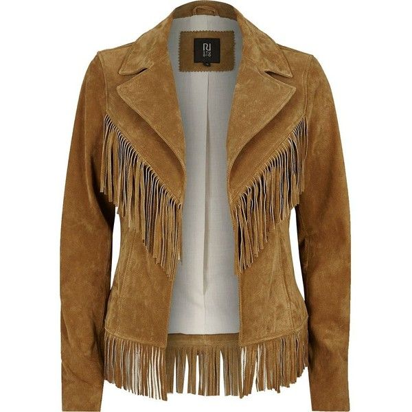 River Island Tan brown suede fringed Western jacket ($300) ❤ liked on Polyvore featuring outerwear, jackets, coats / jackets, tan, women, tall jacket, suede leather jacket, suede jacket, brown jacket and suede fringe jacket