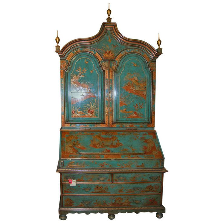 19th Century English Lacquered Gilt Chinoisoire Bookcase Secretaire | From a unique collection of antique and modern secretaires at http://www.1stdibs.com/furniture/storage-case-pieces/secretaires/