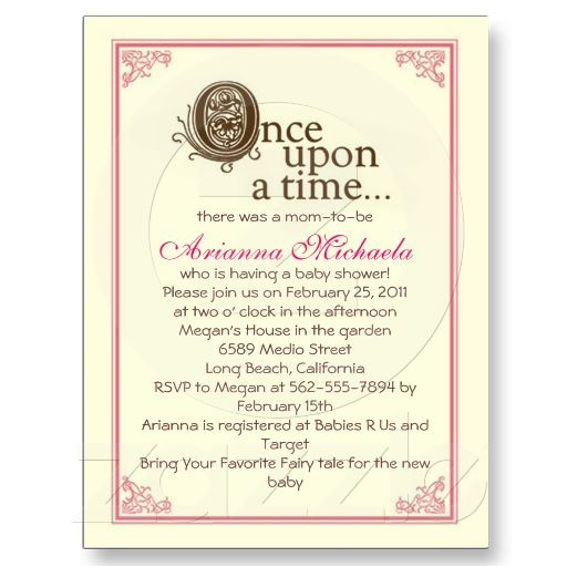 Once upon a time... Baby Shower Invitation Post Cards