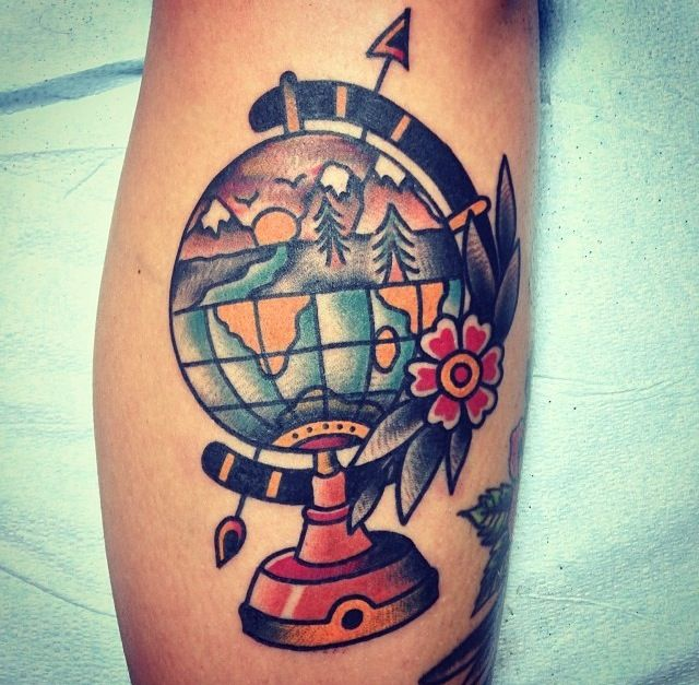 traditional globe tattoo tattoooooos pinterest traditional globes and tattoos and body art. Black Bedroom Furniture Sets. Home Design Ideas
