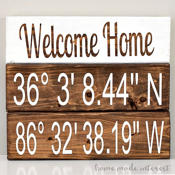This wood block set combines welcome home and latitude and longitude to create a personalized gift for a new homeowner or something pretty to decorate your mantle.