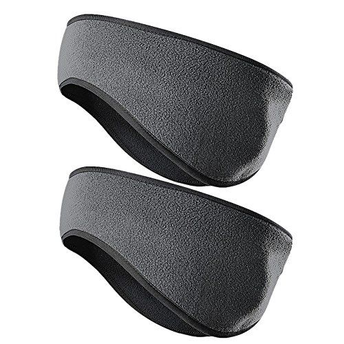 2 Pieces Polar Fleece Ear Warmers Muffs Headband for Men & Women Perfect for Winter Running Yoga Skiing Work out Riding bike in Cold and Freezing Days