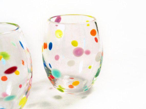 Wine Glass Tumblers Set of 6 / Retro Polka Dot by AvolieGlass, $210.00