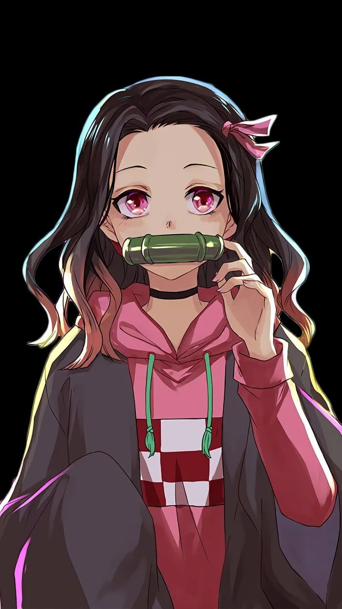 Casual Nezuko Black Background Cute anime wallpaper black background