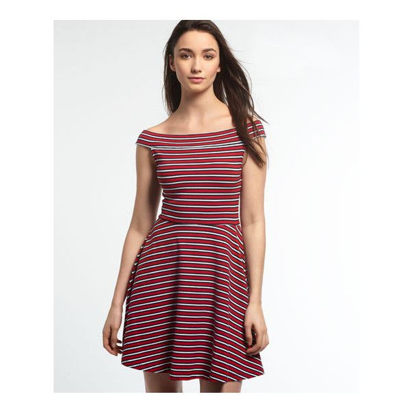 Superdry Bardot Skater Dress ($22) ❤ liked on Polyvore featuring dresses, red, off shoulder dress, white day dress, white off shoulder dress, red dress and white dress