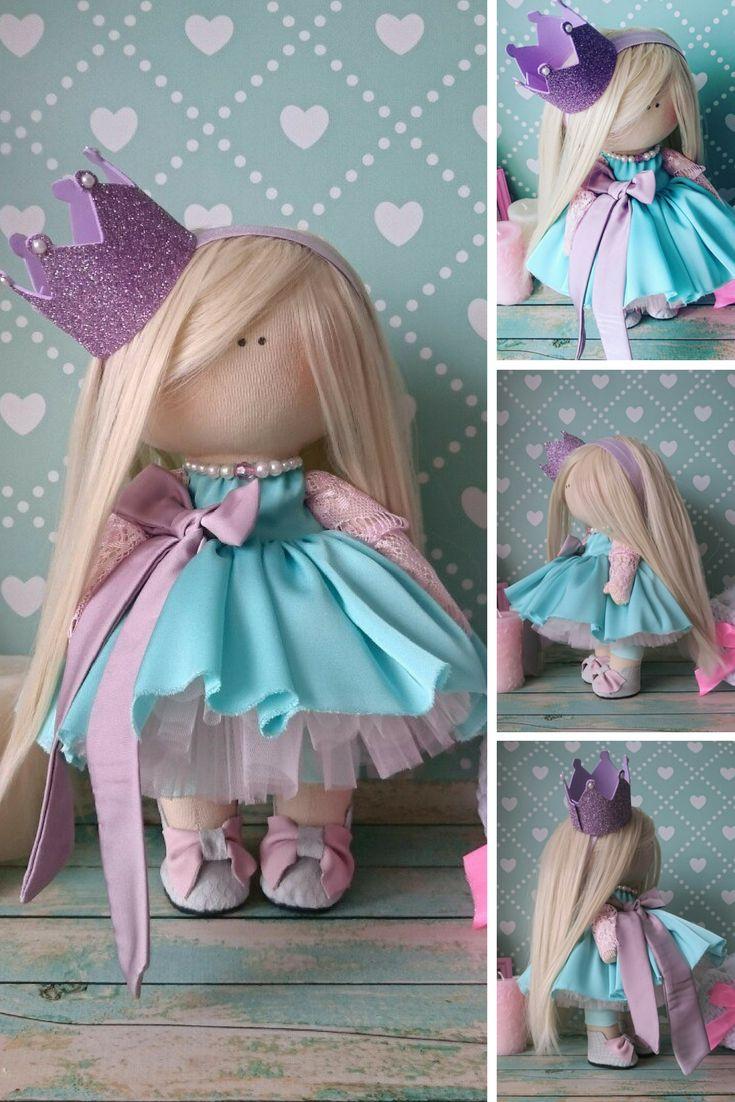 Princess doll Fabric doll Handmade doll Nursery doll Bambole di stoffa Tilda doll Muñecas Turquise doll Cloth doll Rag doll by Elvira