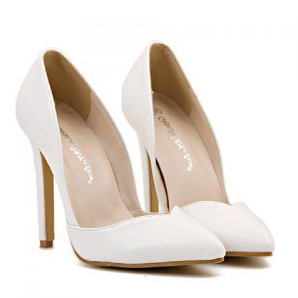 Fashionable PU Leather and Pointed Toe Design Women's Pumps, WHITE, 36 in Pumps | DressLily.com