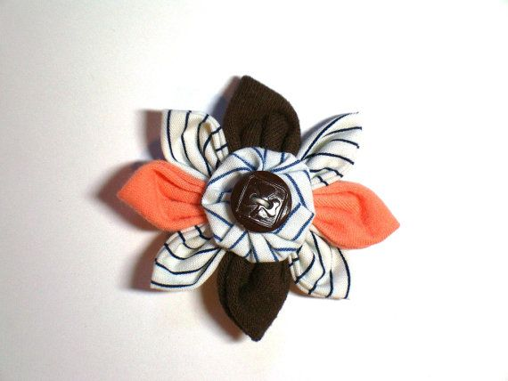Handmade BROWNIES Peach & Brown Flower with Brown Button and Vintage GGC Striped Uniform Fabric