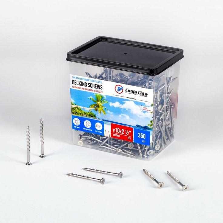 "#10 X 2.5"" ( 5 X 65MM) TORX FLAT HEAD STAINLESS STEEL DECKING SCREWS ( BOX OF 350)"