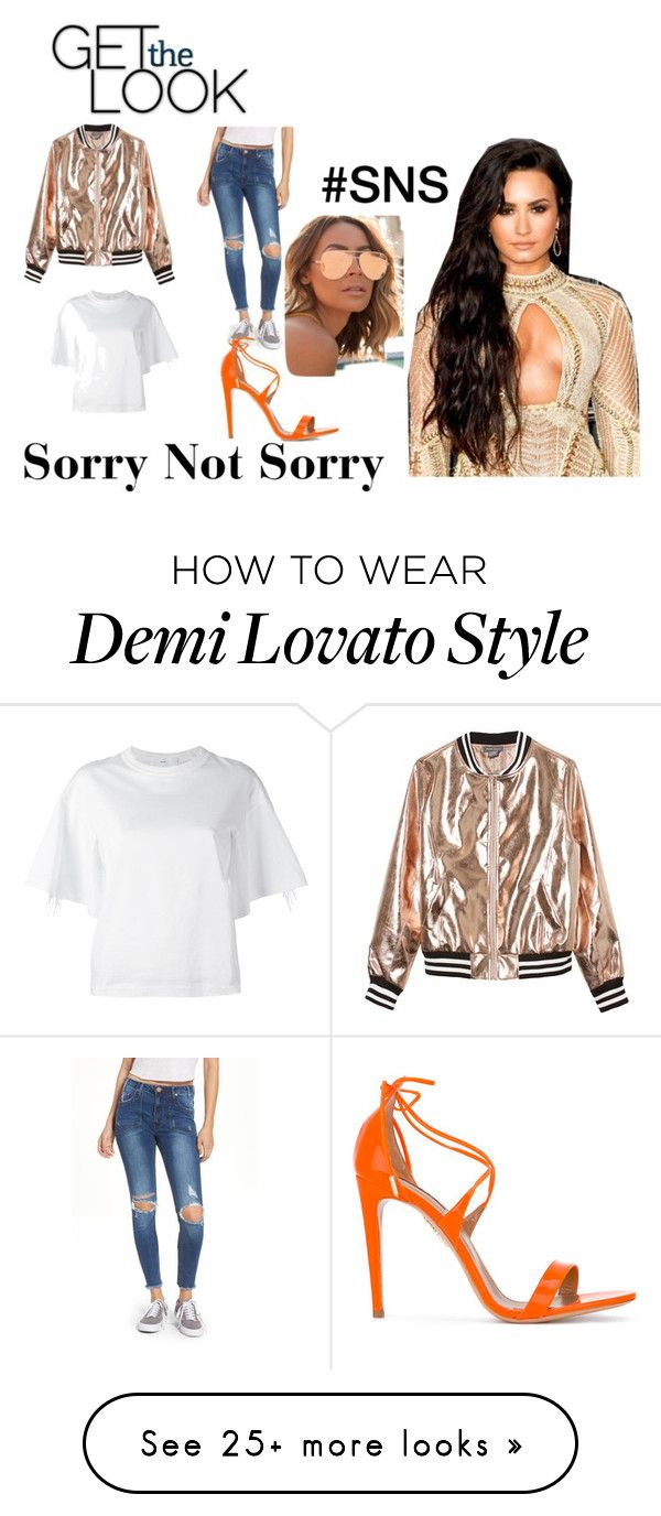 """Sorry Not Sorry Demi Lovato"" by annbs on Polyvore featuring Sans Souci, Toga, OneTeaspoon, Aquazzura and Quay"