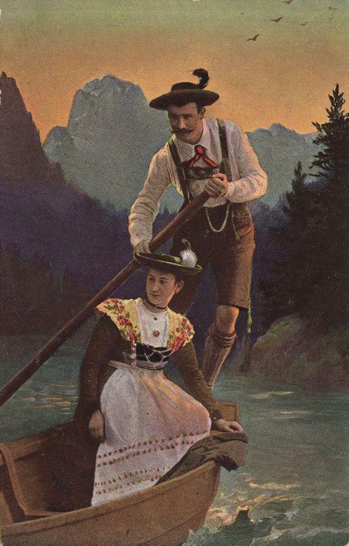 Paar im Kahn vor Alpenkulisse, Bayern, Deutschland, Postkarte, ca. 1900
