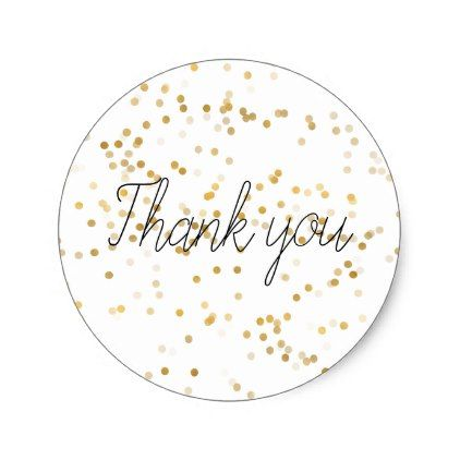 Gold Glam Confetti Thank you Classic Round Sticker - wedding stickers unique design cool sticker gift idea marriage party