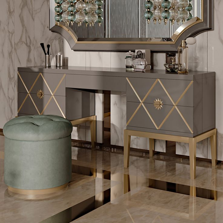 Art Deco Inspired Italian Designer 5 Drawer Dressing Table At Juliettes  Interiors, A Large Collection
