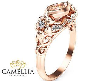 14K anillo de compromiso de oro rosa oro rosa morganita anillo Marquesa melocotón puro anillo de compromiso único anillo de compromiso