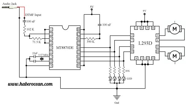 Circuit to Control two DC Motors using Mobile Phone