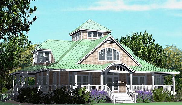 This is the front left side of the Grand Island Cottage. The large windows let in a lot of light to brighten up your home. This house plan can be purchased at www.southerncottages.com.