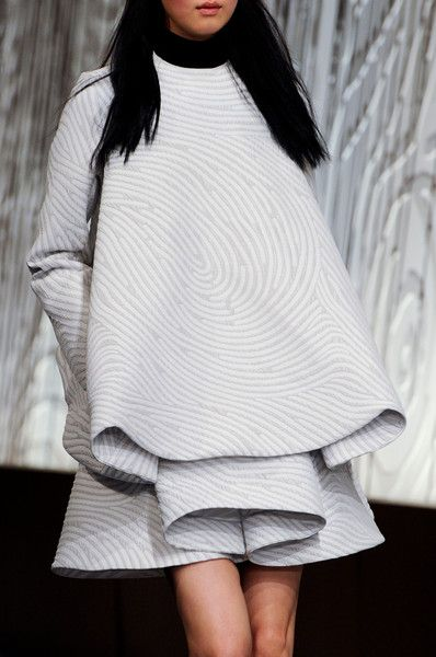 Sculptural Folds - dress design with structured silhouette & 3D layered roll detail; fashion construction // Opening Ceremony, NY Fashion Week