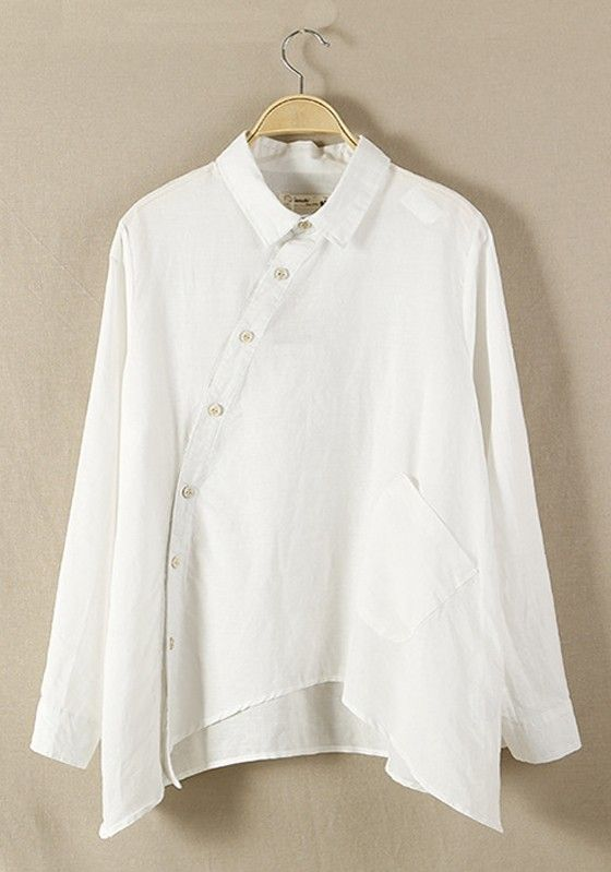 White Plain Hem Irregular V-neck Cotton Blend Blouse
