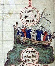 I pilastri della Terra - naufragio della nave Bianca - miniatura del XII secolo