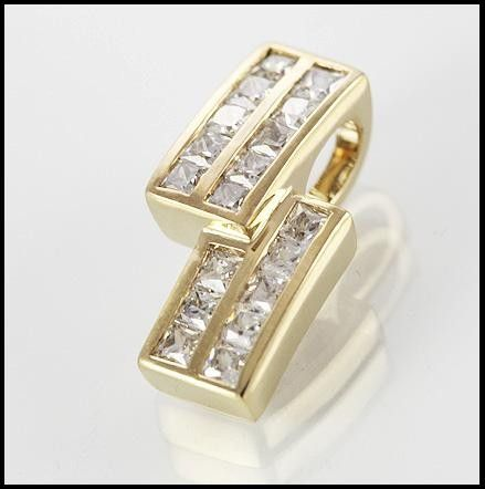 9ct Gold Simulated Diamond Pendant.  a beautiful simulated diamond pendant, elegant in its simplicity and elegance.