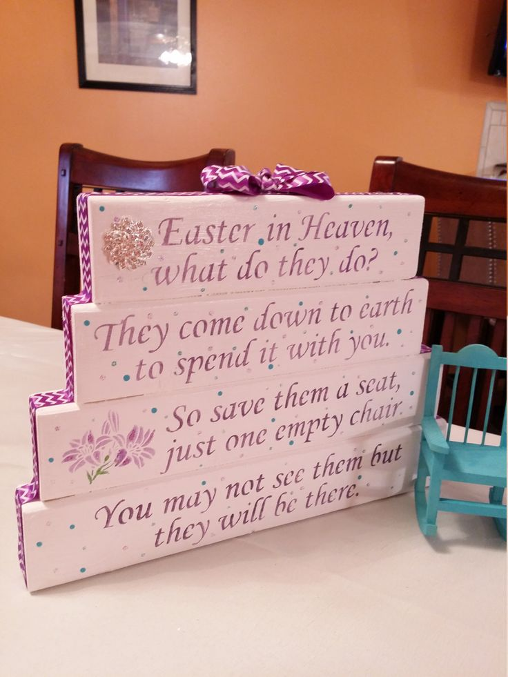 EASTER In Heaven poem table top display handmade memorial decor Lent, bereavement, loss of a loved one, quote, Lilly flowers