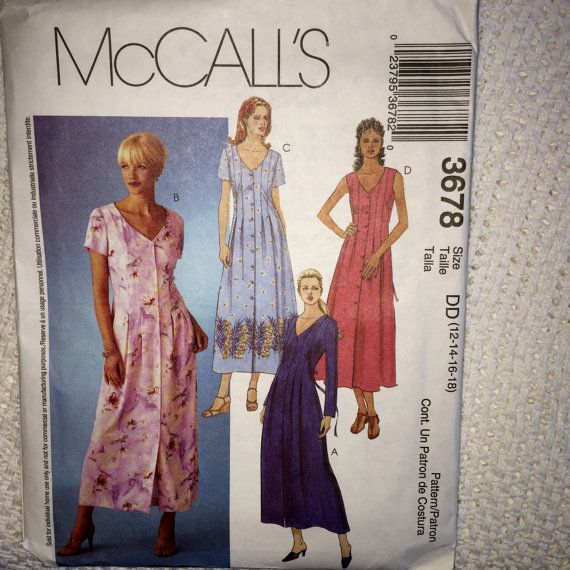 Mccalls Misses Button Down Shirt Dress Sewing Pattern 3678
