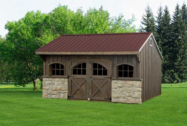 Board and batten and stone garage vinyl sheds for Board and batten shed plans