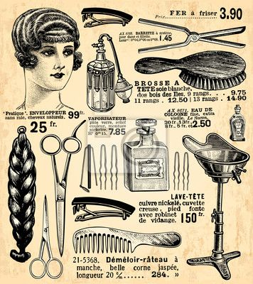 """Stickers """"flask, hairdressing, perfume - coiffeur pour dames"""" ✓ Easy Installation ✓ 365 Days Money Back Guarantee ✓ Browse other patterns from this collection!"""