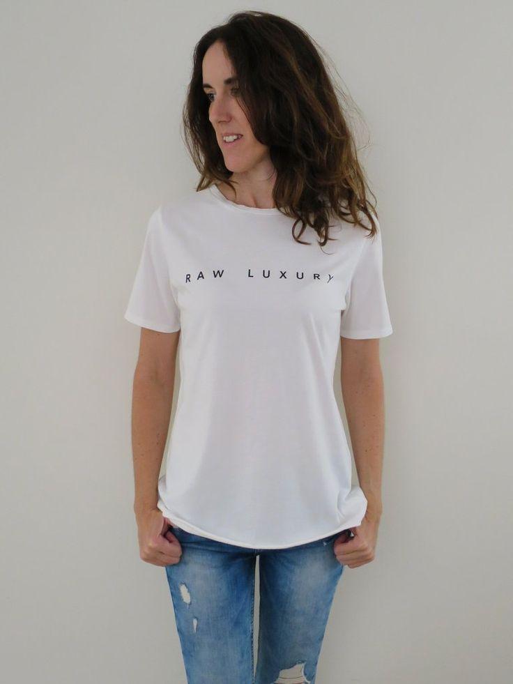 Women's Raw Luxury organic tee - white. www.rawluxury.com.au