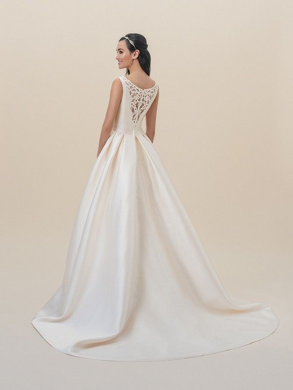 Moonlight Tango T827 Gold Elegant Sheer Lace Scoop Back Mikado Wedding Gown With Ons On