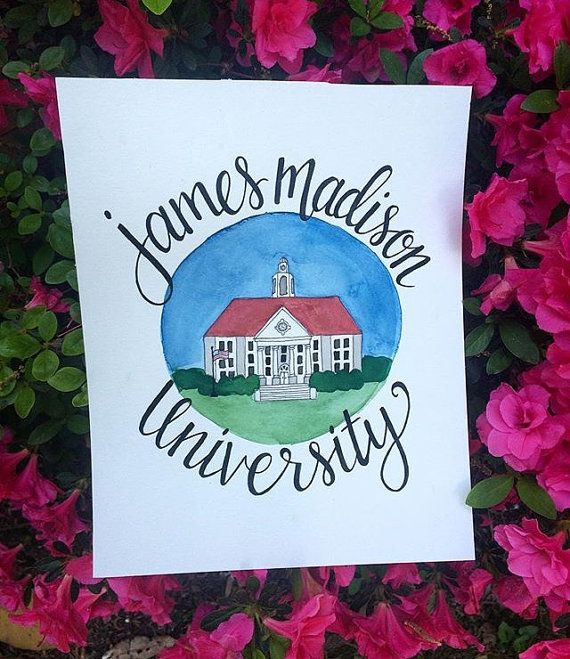 Custom JMU Watercolor James Madison University by colormechrista