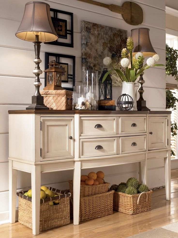 Vintage French Soul ~ Whitesburg Two-Tone Breakfront Dining Room Server by Signature Design by Ashley - Carolina Direct - Serving Table Greenville, Spartanburg, Anderson, Upstate, Simpsonville, Clemson, SC