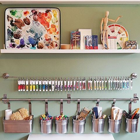 Cluttered craft room? The #IKEAHomeTour Squad used wall storage like the #IKEA GRUNDTAL rail and the DIGNITET curtain wire to hang craft supplies in their craft room makeover! Get more ideas from the Squad at HomeTourSeries.com.