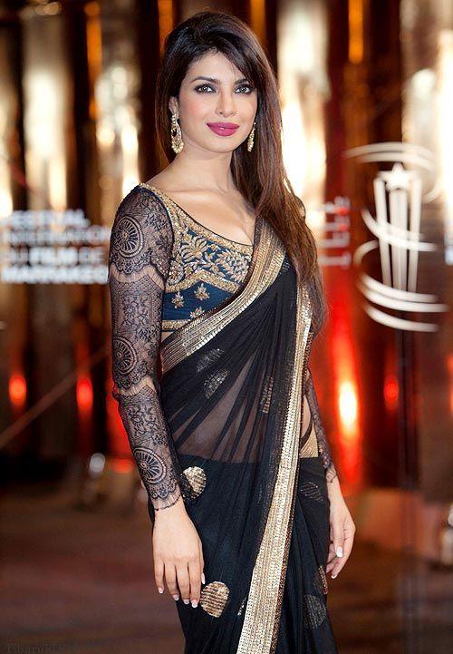 Priyanka Chopra dressed in a stunning Ritu Kumar sari at the Marrakech Film Fest #Bollywood #Fashion