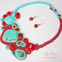 Soutache necklace - red and turquoise necklace and earrings