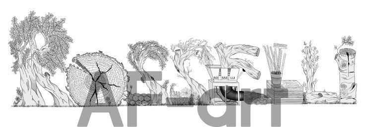 • Rosselli • Logo. Arte, art, disegno, drawing, draw, painting, paint, grafica, graphic, bianco e nero, scritta, writing, legno, albero, three, natura, nature, foglie, vento, wind