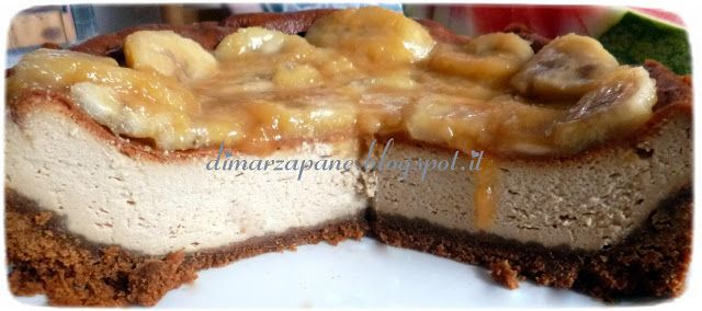 di marzapane: Cheesecake al Mascarpone con banane caramellate