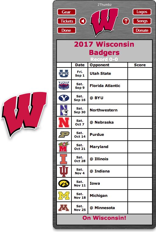 Get your 2017 Wisconsin Badgers Football Schedule Dashboard Widget - On Wisconsin!   Download yours at: http://2thumbzmac.com/teamPagesWidgets/Wisconsin_Badgers.htm