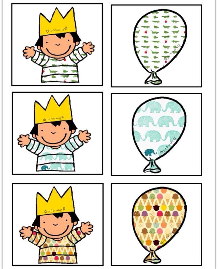 Memorie op een andere manier Zoek dezelfde ballon als het motief op de t-shirt van Anna. Juf Emmy