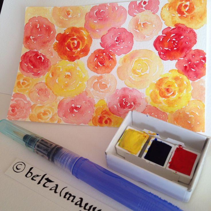 久しぶりの透明水彩。 レッドとイエロー、2色だけで描いたバラ。  #art #calligraphy #draw #drawing #flower #girl #illustration #kawaii #lettering #rose #watercolor #水彩 #透明水彩 #バラ #レッド #イエロー #花 #イラスト