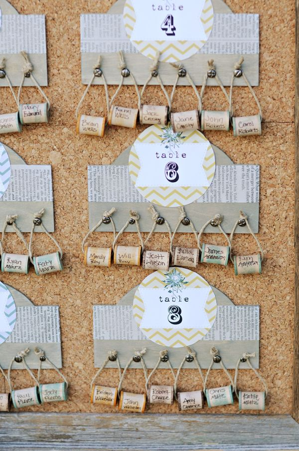 Use spools or corks.  A great way to organize the seating arrangement and can alphabetize them for the reception.