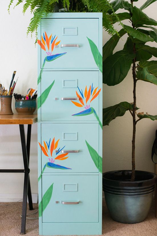diy tropical filing cabinet