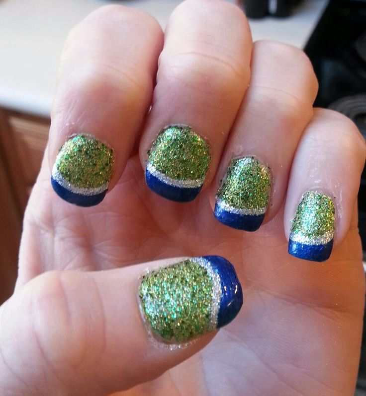 My nails for the 10-28-13 Seahawks game! GO HAWKS!!! Win